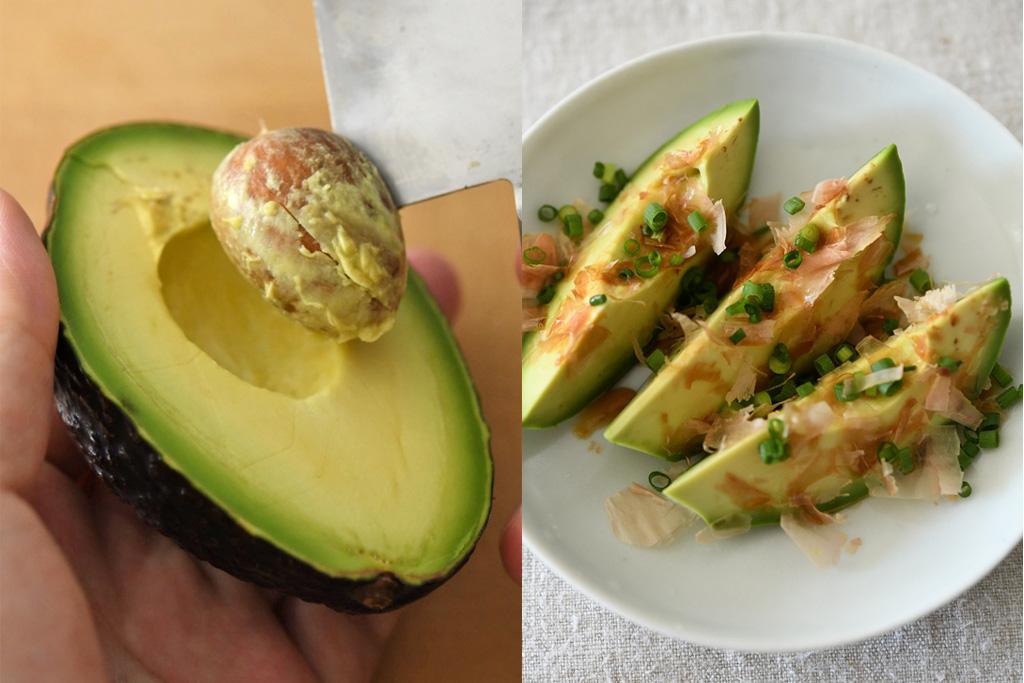 アボカドの切り方と簡単料理の写真