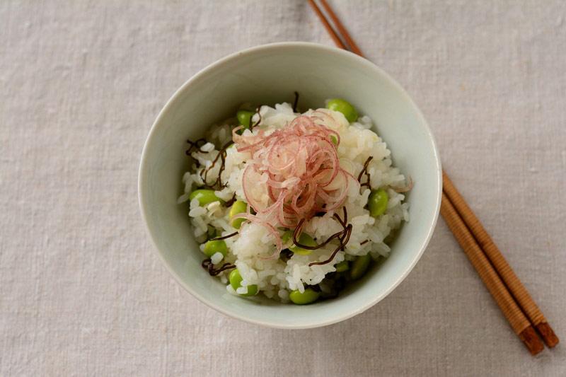 枝豆とみょうがの混ぜごはんの写真