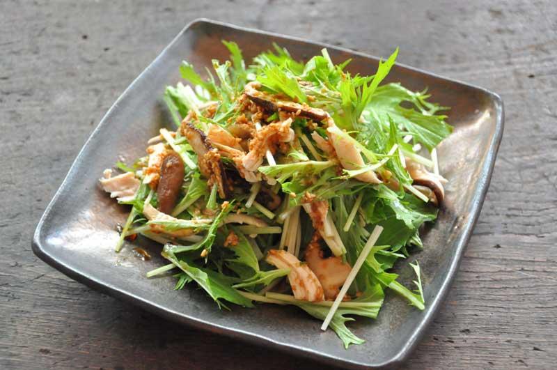 水菜と鶏ささみの和風サラダの写真 水菜と鶏ささみの和風サラダのレシピ/作り方:白ごはん.com