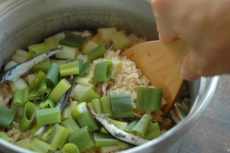 牡蠣の炊き込みご飯; ねぎご飯